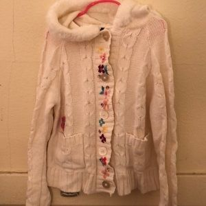 Children's place white hooded girls sweater 7/8